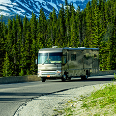 RV driving in the moutains.